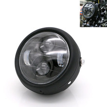 Motorcycle LED Headlight Hi&Lo HeadLamp Bulb DRL With Angel Ring for Harley Sportster Cafe Racer Bobber