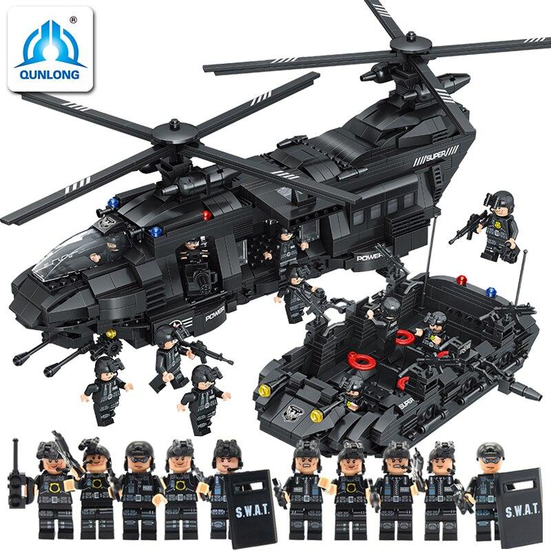 Здесь можно купить  0108 QUNLONG Building Blocks 1351pcs LegoING Soldiers Building Blocks Chinook Transport Comparative Boys Bricks Toys  Игрушки и Хобби