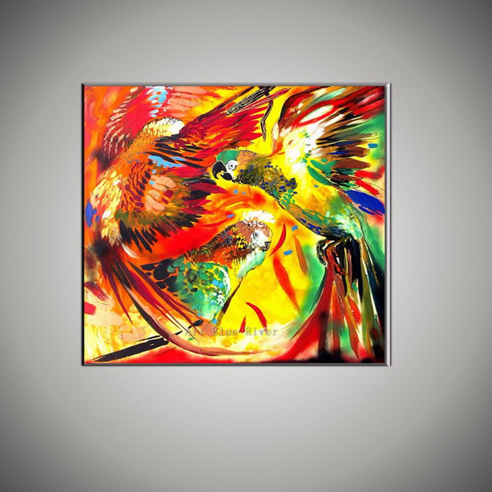 Abstrakte moderne papagei elefanten wandkunst dekorative lustige bunte tier bilder ölgemälde reproduktion leinwand wand dekor