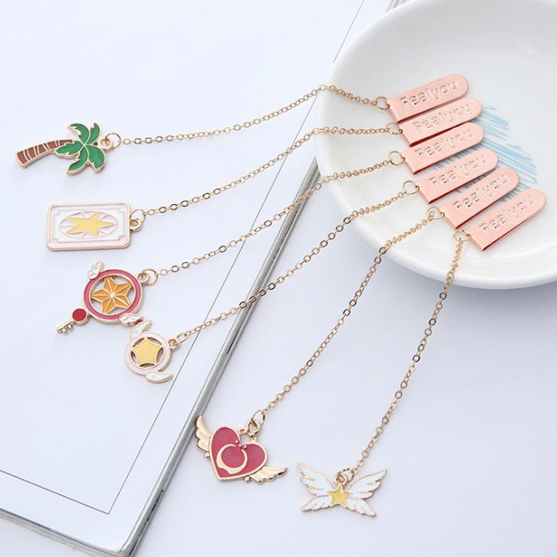 1 Pcs Kawaii Magic Wing Star Heart Coconut Tree Metal Pendant Bookmarks Book Markers Metal Page Holder Girls Gifts Stationery