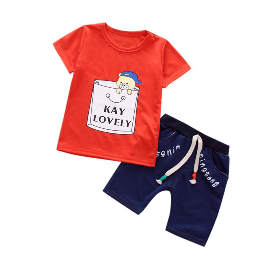 Summer Boys & Girls Children Alphabet Bear Print T-shirt + Solid Color Shorts Set 2 Piece Set Casual Fashion Toddler Cute Daily