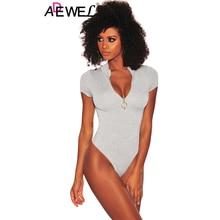 купить ADEWEL Short Sleeve Bodycon Sheer Bodysuit Casual Front Ring Zipper Turtleneck Skinny Black Sexy Club Women Summer Bodysuits дешево