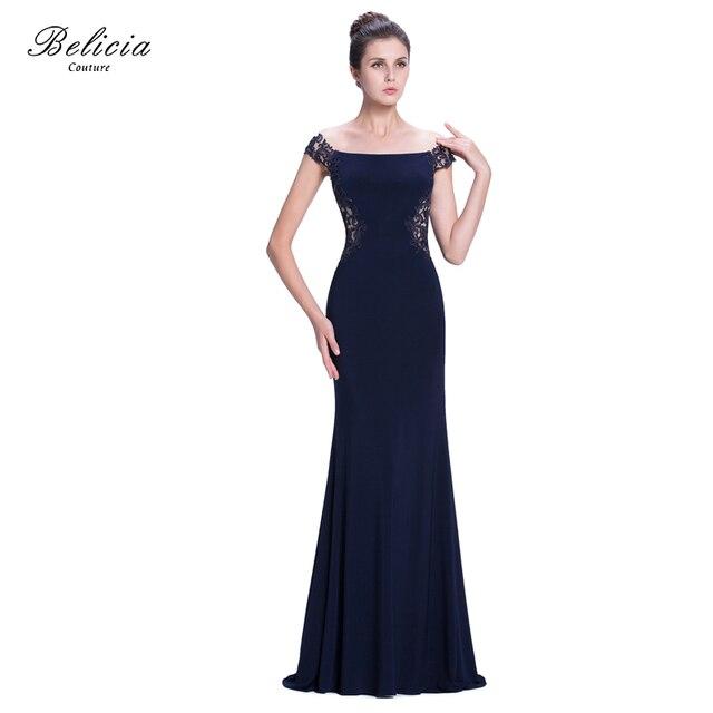dbe44e1aedb4 Belicia Couture Donne Cap Lace Maniche Lunghe Jersey Sirena Abito Da Sera  Con Lieve Scollo A