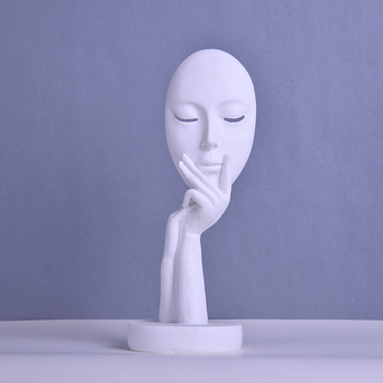 Mrzoot Modern Home Decor Continental Abstract Face Mask Resin Statue Fashion Sculpture Sandstone Art Collection Gift Decoration