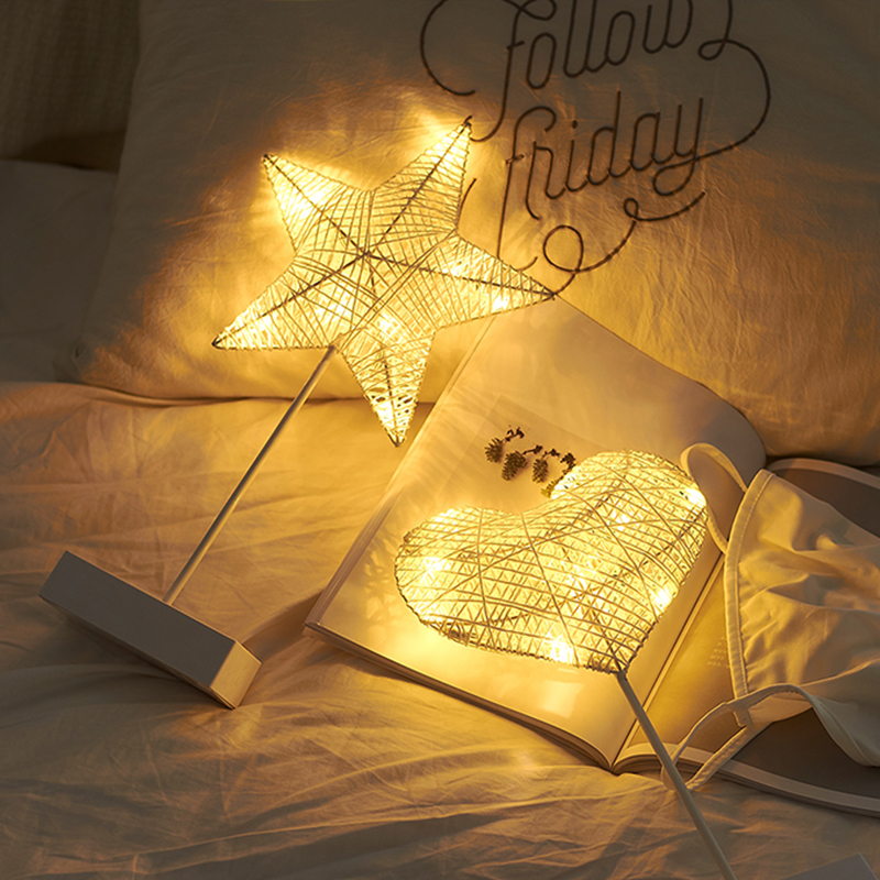 Night Light Creative LED Heart Star Tree Shape Grass Rattan Woven Battery Power Table Night Lamp Gift Party Decoration Lights