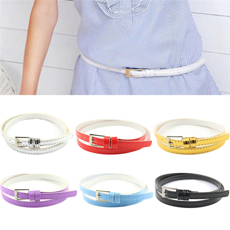 100cm Multicolor Belts For Women Hot Beautiful Woman Candy Color Belt Small Thin Pu Leather Belt