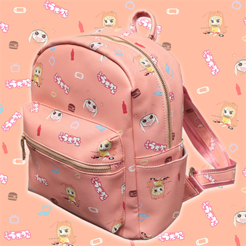 цены Himouto Umaru-chan Umaru Doma PU Backpack Pink Shoulders Bag Women Girls Lolita Bags for School Teenagers