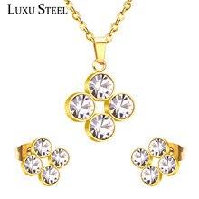 Kids Jewellery Necklace Earrings Stainless-Steel Pendant Girls Cubic-Zirconia Wholesale