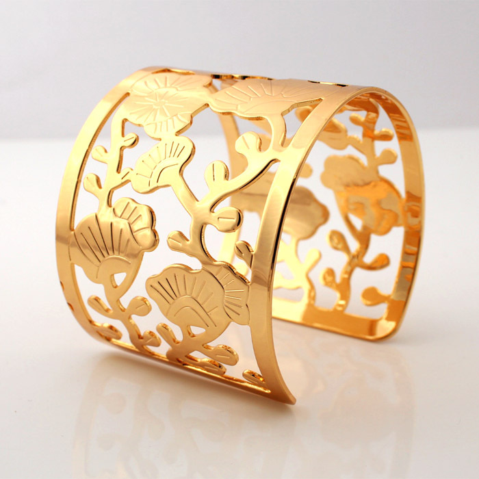 vintage wholesale real bangles flower in size plated hollow or yellow bracelets cuff item big for shipping women jewelry gold from men bracelet free