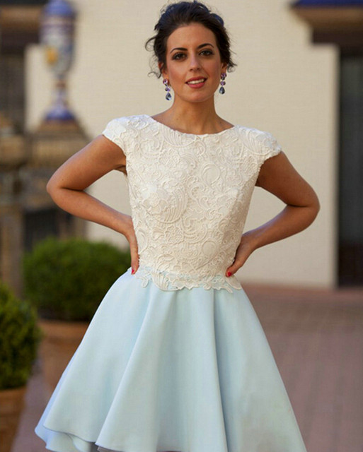 Custom made Elegant Short Sky Blue Satin Ivory Lace Cocktail Dress 2017 Cap Sleeve Open Back Party Dresses Women Gowns Online
