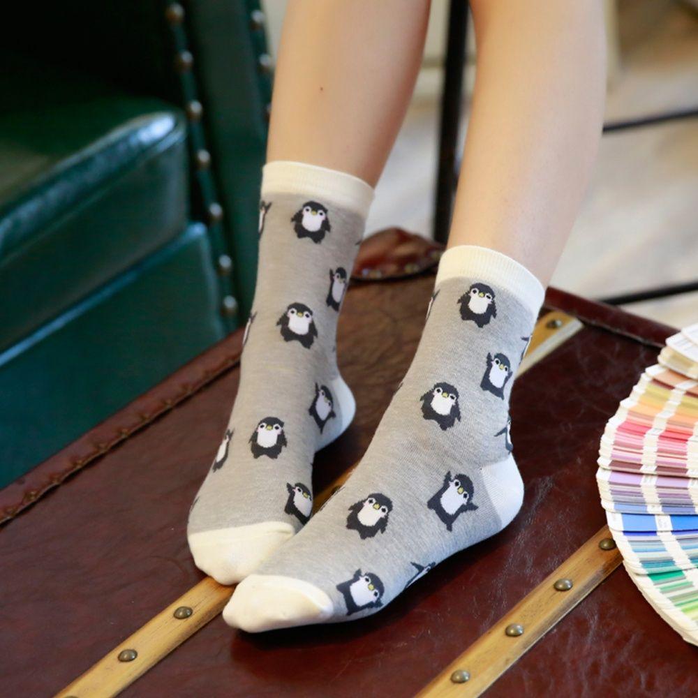 1 Pair Fashion Cartoon Penguin Animal Women Cotton Soft Socks Ankle Socks Lady Winter Autumn Warm Comfortable Sock