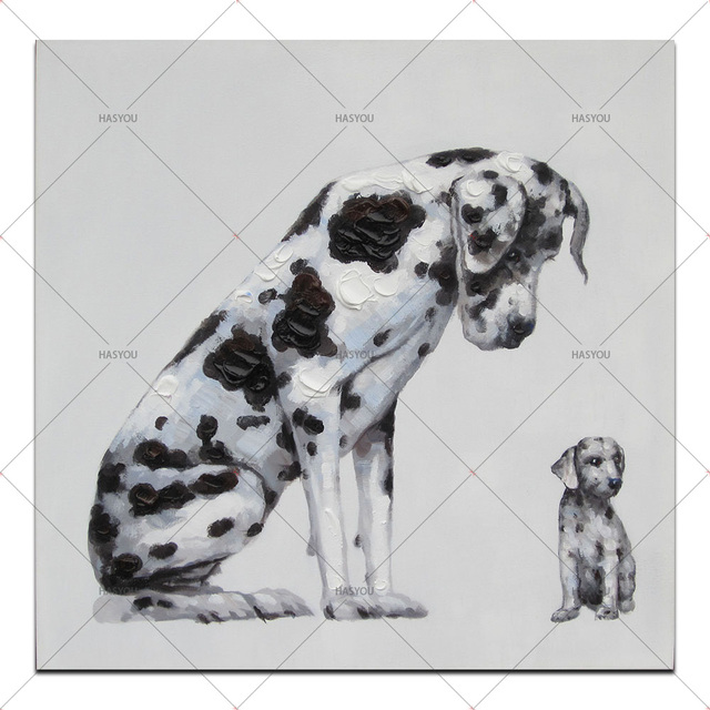 Us 2142 49 Offmodern Animal Oil Painting Big Dog And Baby Dog Hand Painted Canvas Paintings For Kids Room Decor Home Wall Cartoon Picture In