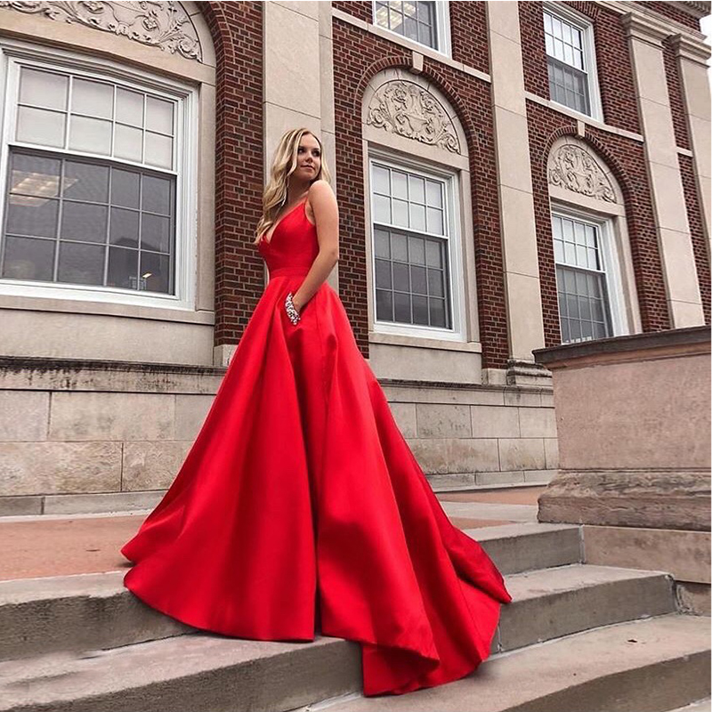 Long A-line Prom Dresses With Pocket Diamond Red Formal Party Dresses Sweep Train  Vestido De Fiesta For Women Prom Party 2019