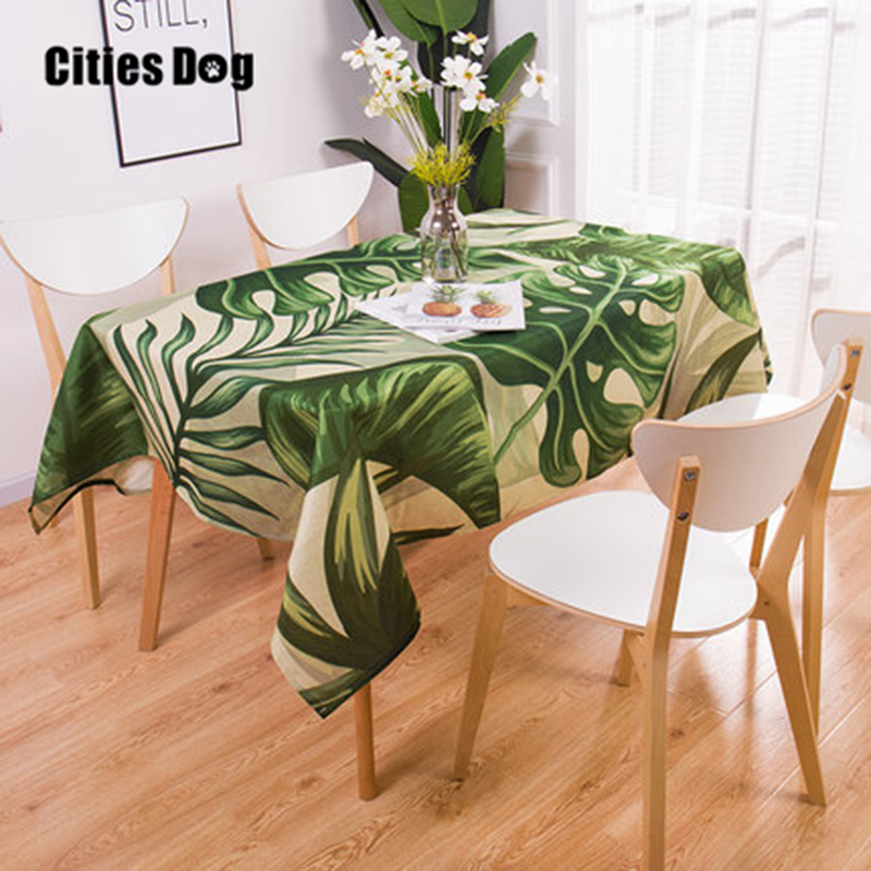 Geometry Tropical Plants Pattern Cotton Linen Waterproof Tablecloths Decorative Home Decor Table Cloth High Quality Tablecloth
