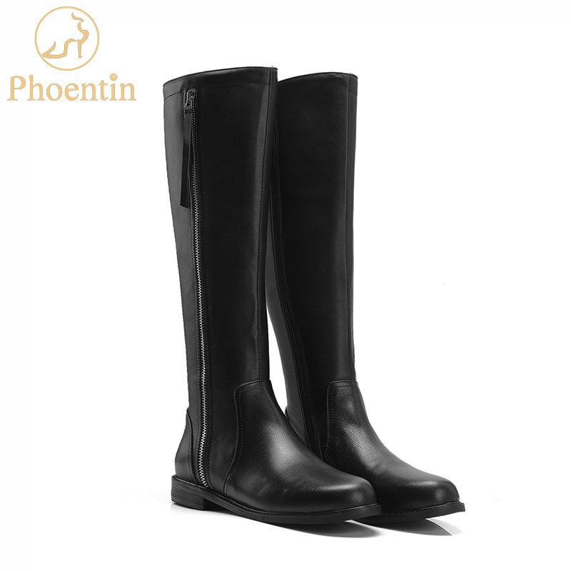 Phoentin black zipper leather riding boots knee high 2019 flat long booties female equestrian horse boots