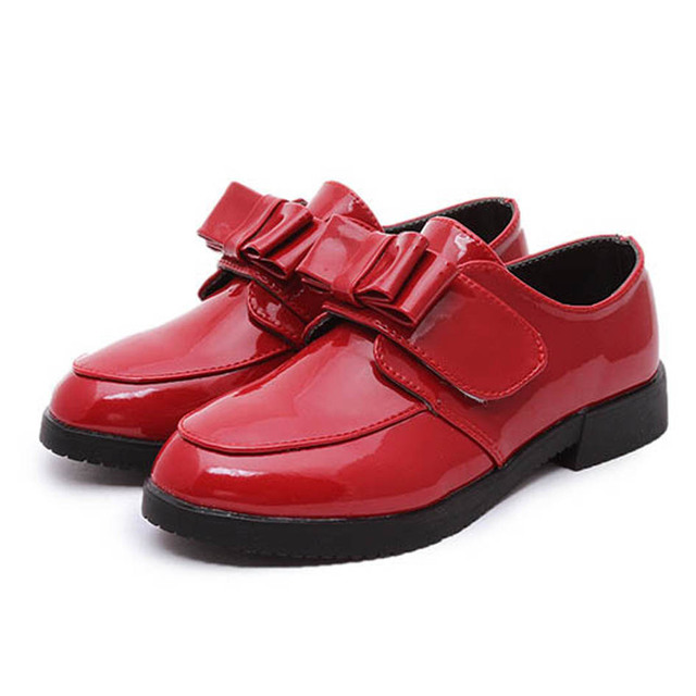 Kids Girls Dress Shoes 2017 British Style Patent Leather Shoes Children Girl School Shoes Bow Knot Casual Shoes Zapatos Ninas
