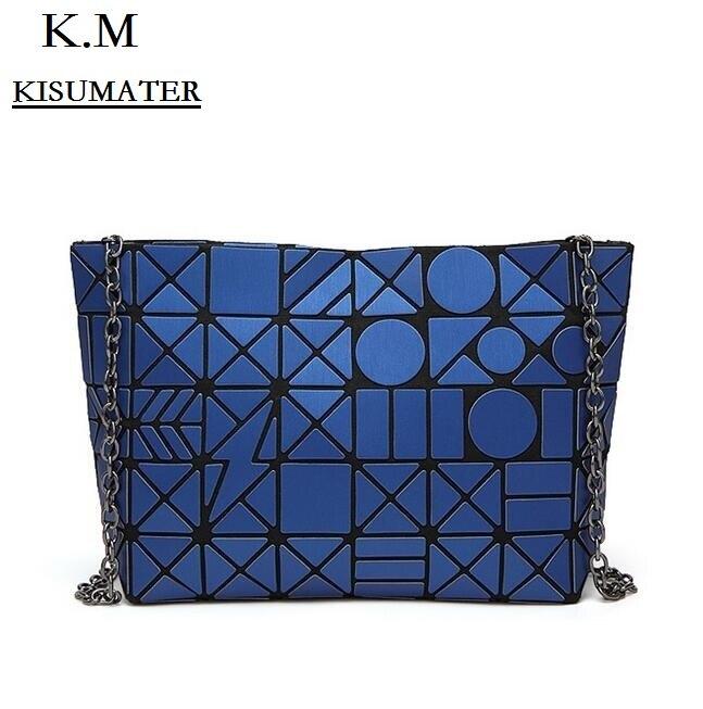 Women Envelope Clutch Matt Color Handbag Ladys Geometric lattic bag laser silver bag Free Shipping