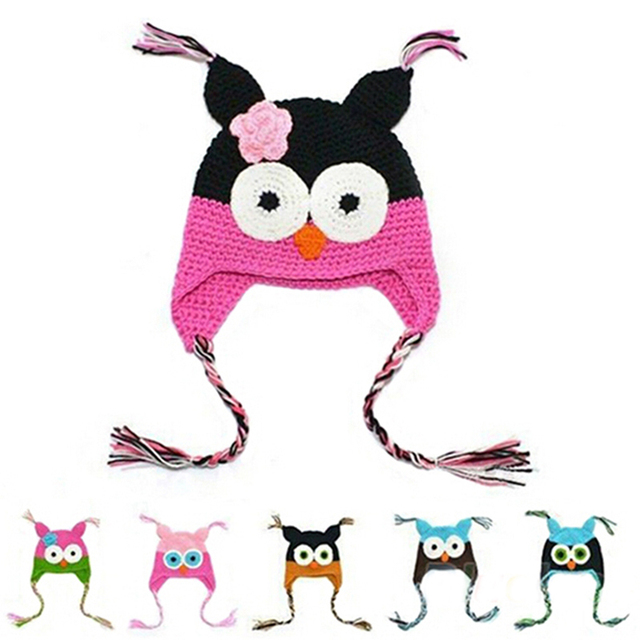 32cf2a844e9 Handmade Knitted Kids Caps Baby Cartoon Infant Toddler Crochet Baby Hats  Owl Cap With Ear Flap Animal Style For Baby Grils Boys