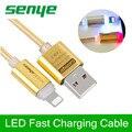 Elegante Crystal LED de Iluminación de Metal cable de Datos USB de Nylon Trenzado línea de transmisión de alta velocidad de carga Rápida para el iphone 5 6 S SÍ