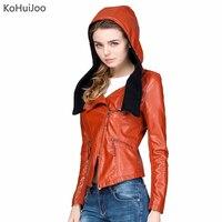 KoHuiJoo Autumn Women Hooded Leather Jackets Short Design Female Pu Leather Coats Orange Black Knitted Patchwork