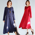 Good Quality Ethnic Style Pregnant Woman Dress Cotton Linen Spring Autumn Loose Maternity Clothes Long Pregnancy Dress CE341