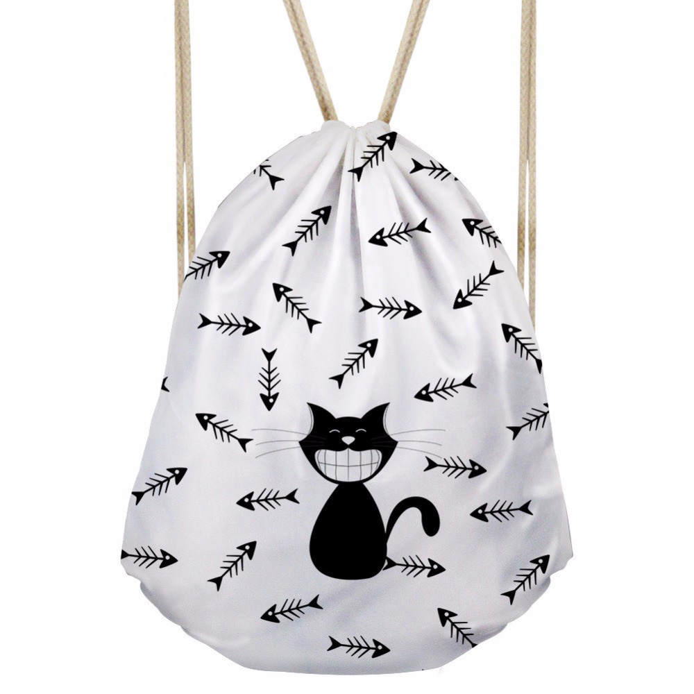 Women's Drawstring Bag Children Cartoon Cat Printing