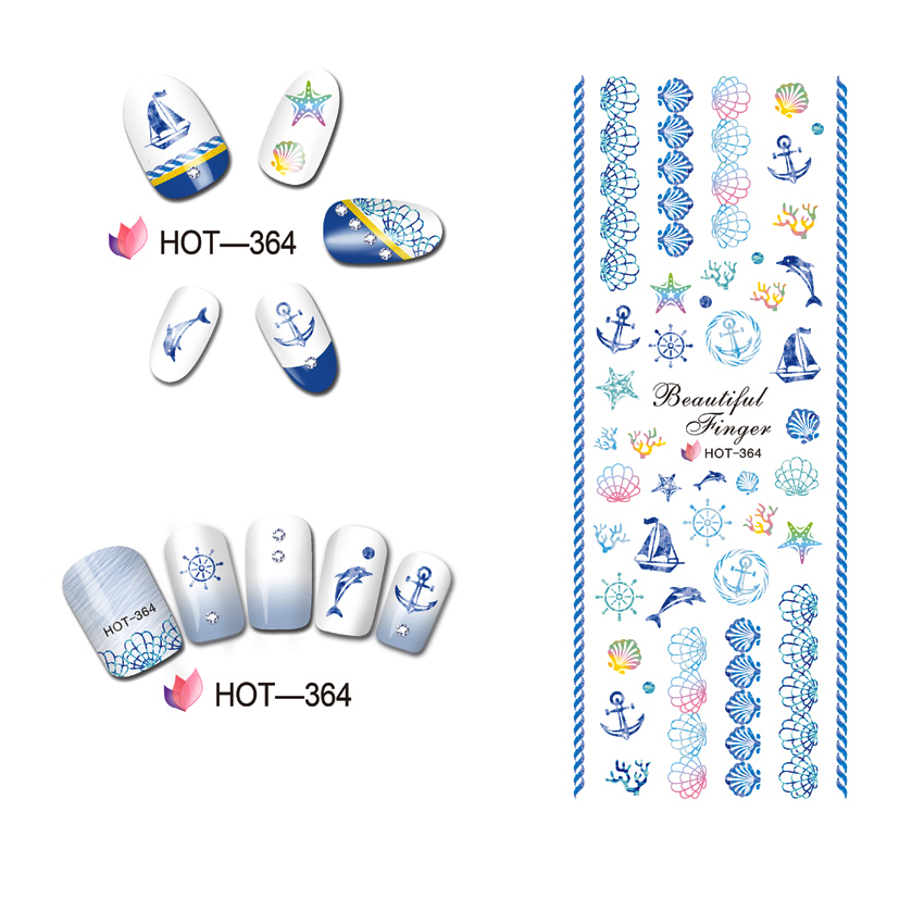 UPRETTEGO NAIL ART BEAUTY WATER DECAL SLIDER NAIL STICKER CARTOON MARINE CONCH FISH SCALE BOAT TURTLE SHELL  HOT364-369 3 packs lot cartoon marine mermaid conch sea star nail tattoos sticker water decal nail art hot307 309