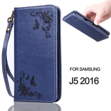 Wallet Case For J5 2016 Rose Flower Butterfly Magnetic Flip Leather Phone Case For Samsung Galaxy J5