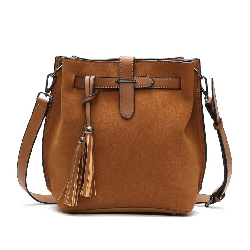 Pu Leather/Scrub Women Bucket Bag Vintage Tassel Women Shoulder Bag Crossbody Bags For Women Sac Retro