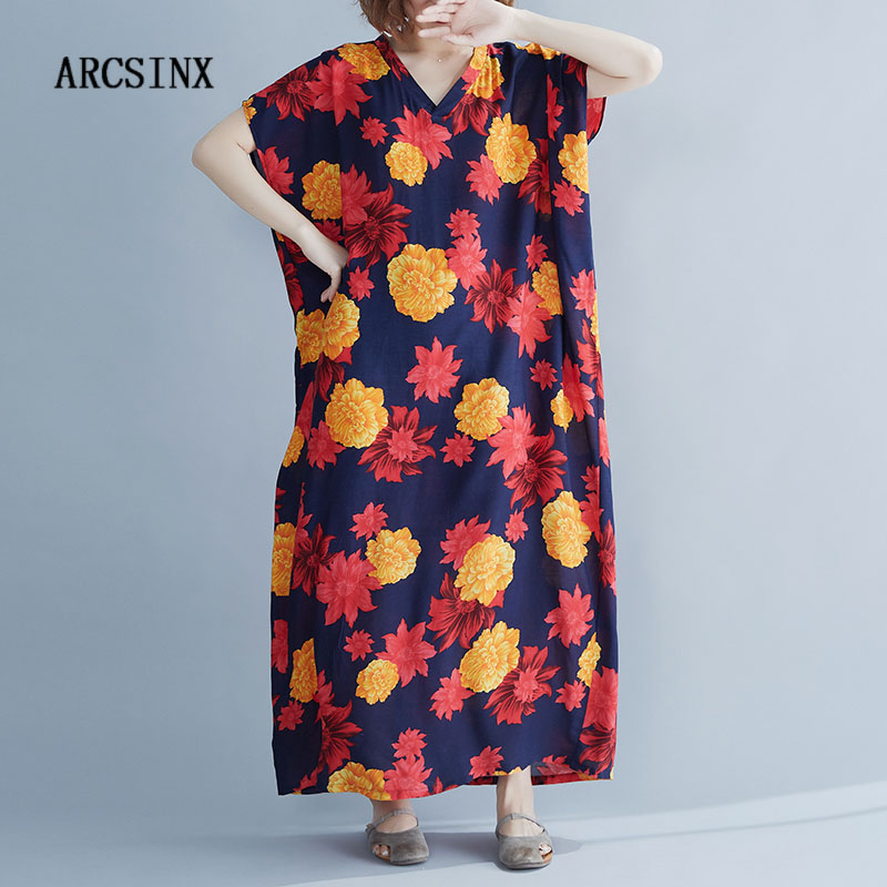 ARCSINX Boho Summer Dress Women Plus Size 4XL 5XL <font><b>6XL</b></font> <font><b>7XL</b></font> 8XL <font><b>9XL</b></font> 10XL Floral Women's Dress Casual Large Size Dresses For Women image