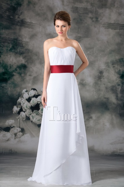 4c63d9e0d0f2 Princess A-line simple white beach wedding dresses red belt two tone Sheath/Column  2014 Sweetheart Floor Length Bow WD900992