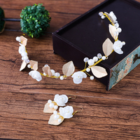 White Flower Headband Gold Color Leaves Design Hairband Hair Ornaments Bridal Wedding Headpiece Hairwear With Earrings