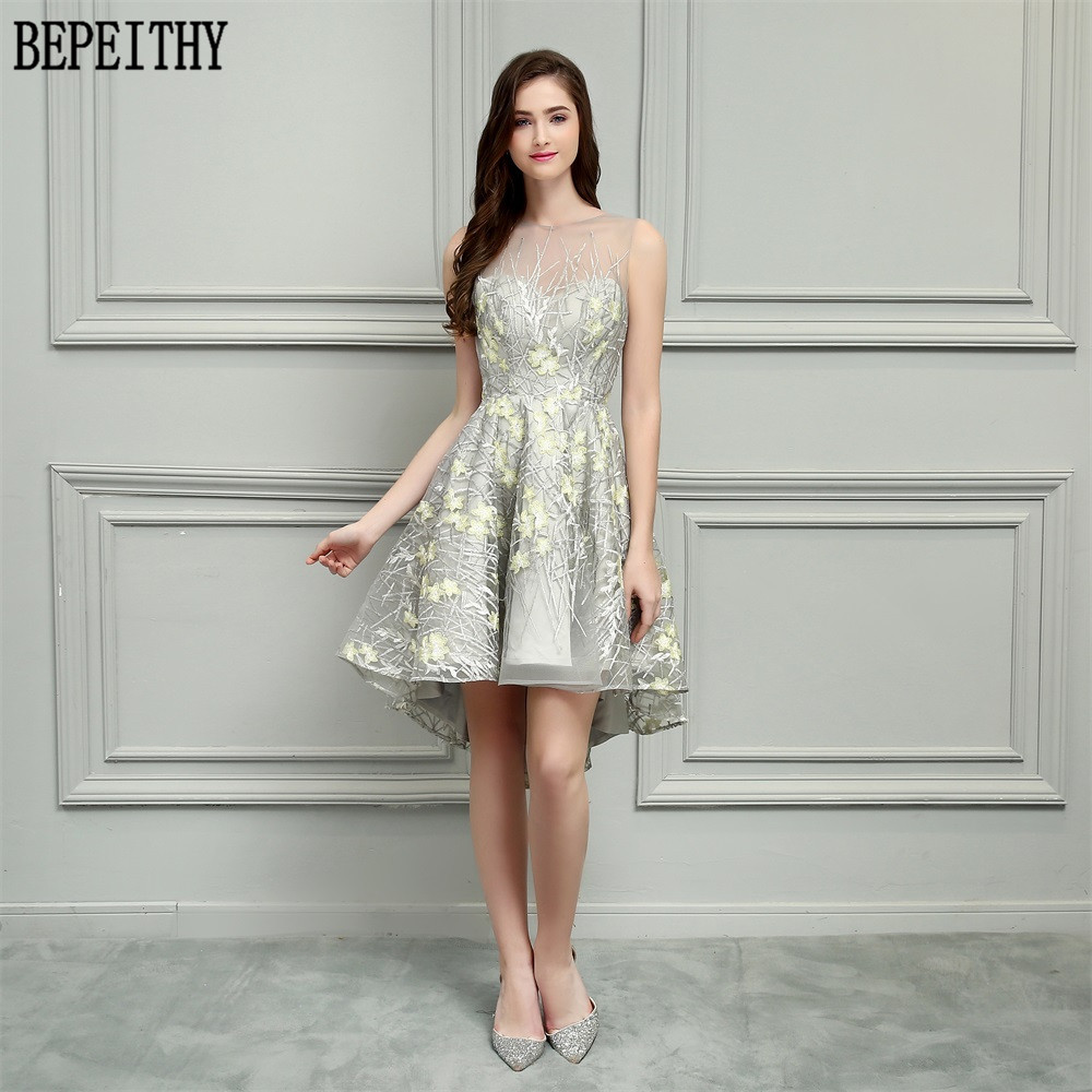 BEPEITHY Vestido De Festa New Design Fshion Lace Sleeveless Tea-Length Sexy Short Evening Gowns High-Low   Prom     Dresses   2018