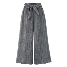 Осень, европейский стиль, женские широкие брюки размера плюс 4XL, женские брюки в Вертикальную Полоску, свободные Капри с бантом и завязками