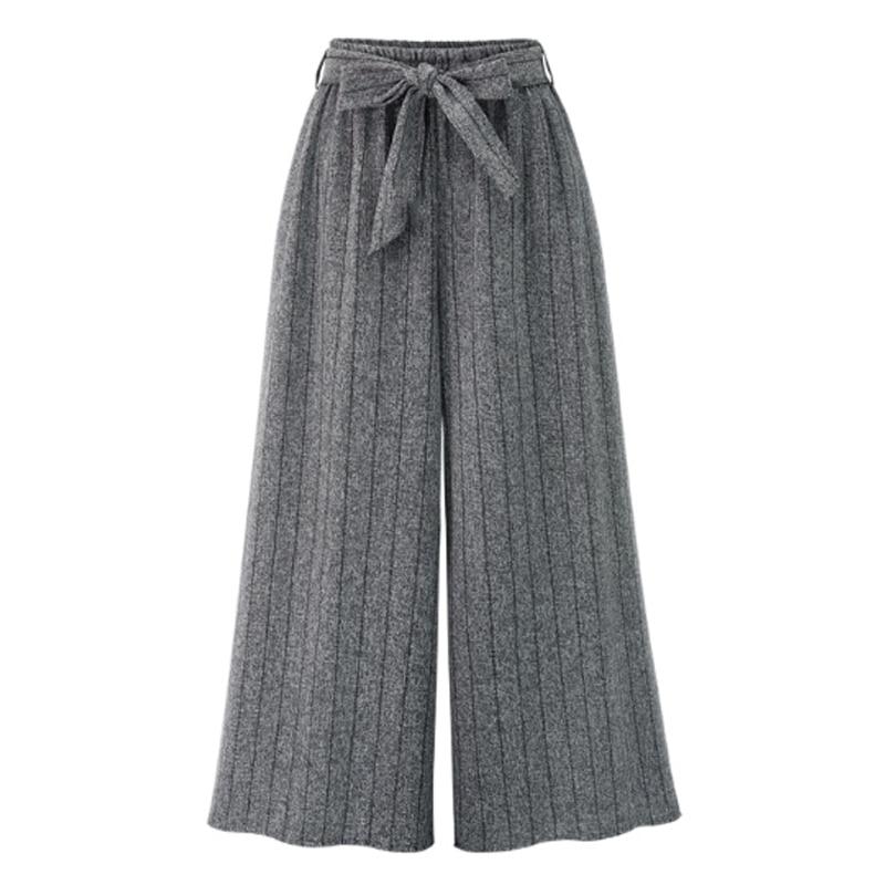 2018 Autumn European Style Women Wide Leg   Pants   Plus Size 4XL Ladies Vertical Striped Trousers Loose Bow Drawstring   Capris