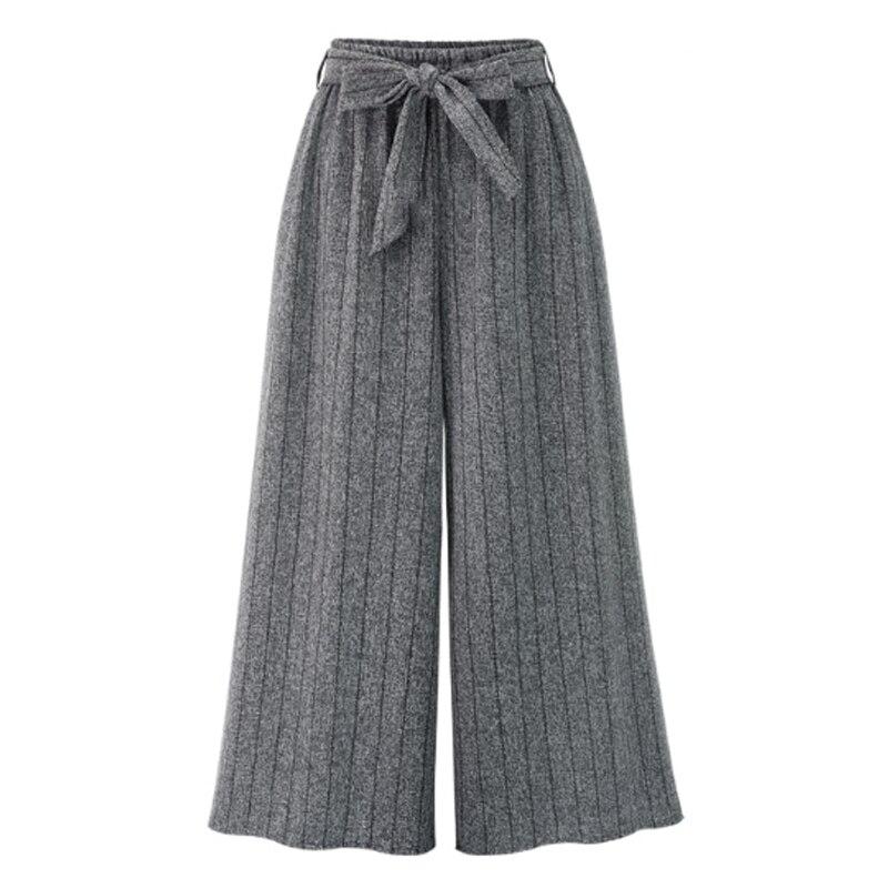 2019 Autumn European Style Women Wide Leg Pants Plus Size 4XL Ladies Vertical Striped Trousers Loose Bow Drawstring Capris