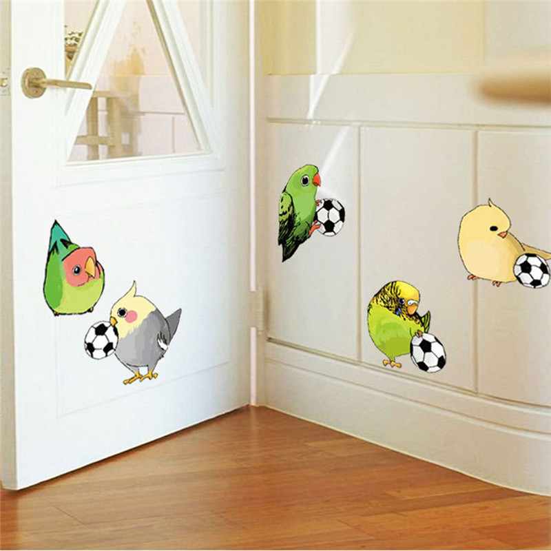 Wall Stickers Birds Playing Soccer Ball Football Animal Decal For ...