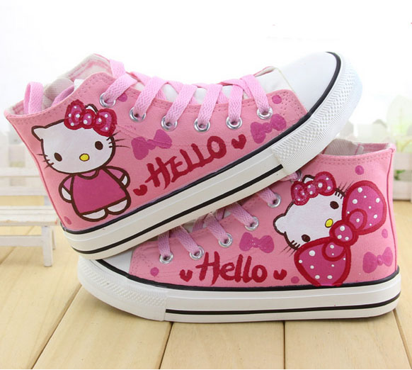 f541c93c4fc06 cartoon hello kitty cat kids shoes hand painted sneakers children ...