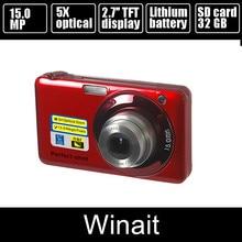 New V600 15Mp Max 5X Optical Zoom 4X Digital Zoom Digital Camera 2.7″ Screen 720P HD Video 9MP CMOS Sensor 800Mah Li-Battery