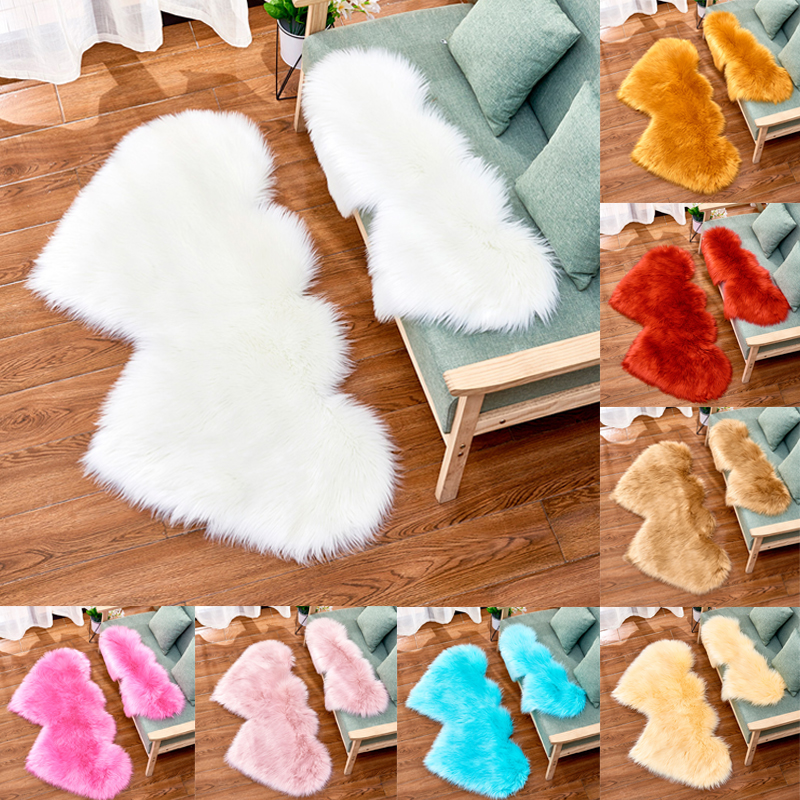 Living Room Carpet Rugs Double Heart Artificial Wool Sheepskin Floor Area Rug Shaggy Bedroom Kids Room Faux Fluffy Carpets Mats