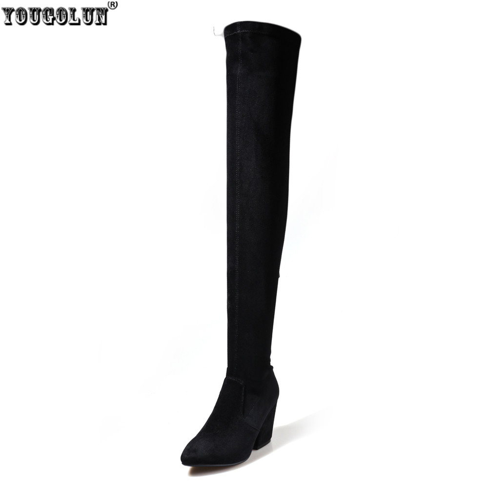 YOUGOLUN Stretch Fabric autumn winter woman womens nubuck suede leather women high heels shoes thigh high over the knee boots ppnu woman winter nubuck genuine leather over the knee snow boots women fashion womens suede thigh high boots ladies shoes flats