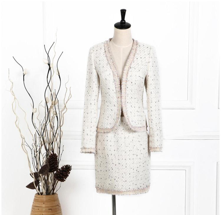 amazing two piece set women's suits,tweed jacket and skirt ...