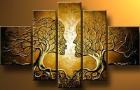 Handpainted Wall Art Home Decoration Tree Of Life Pictures Modern Abstract 5 Piece Oil Painting On
