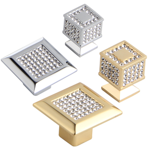 Image 4 - 24K Real Gold or Chrome Czech Crystal Drawer Cabinet Knobs Wardrobe Door Handle Furniture Knobs Pull Handles