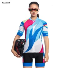 2019 FUALRNY Women Bike Shirt 100% Polyester Breathable Bicycle Clothes Summer UV Cycling Clothing Quick-Dry Jersey Set