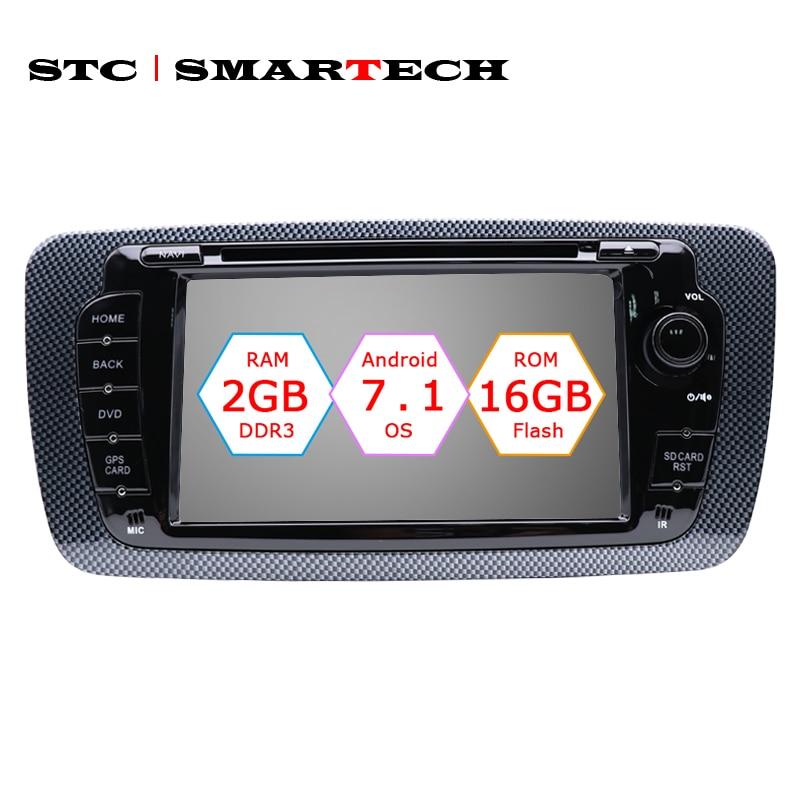 SMARTECH 2 Din Android 7.1 Autoradio Lecteur DVD GPS Navigation pour seat ibiza Quad Core 2 gb RAM 16 gb ROM avec CAN-BUS Décodeur