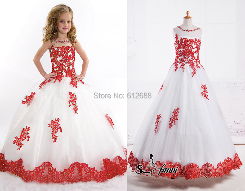 Beauty Pageant Dresses For Little Girls Scoop Tank Crystal Beading ...