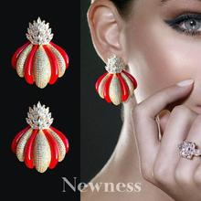 Newness Luxury Brand Flowers Design Engagement Earrings Cubic Zirconia Pave Women Fashion Jewelry
