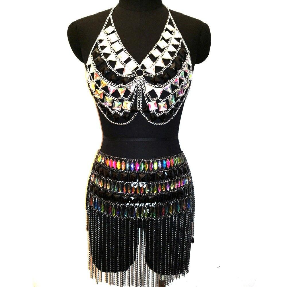Chran Acrylic Chain Bra Harness Crop Top Fashion Summer Beach Sexy Women Tassels Chain Skirt Set bardot embroidered appliques crop top