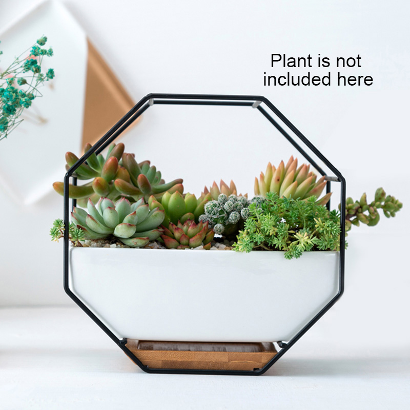 Creatief Geometrische Metalen Ijzeren Rek Witte Keramische Planter Pot Achthoekige Muur Opknoping Keramische Bloempot Bamboe Lade Ijzeren Frame Home Decor